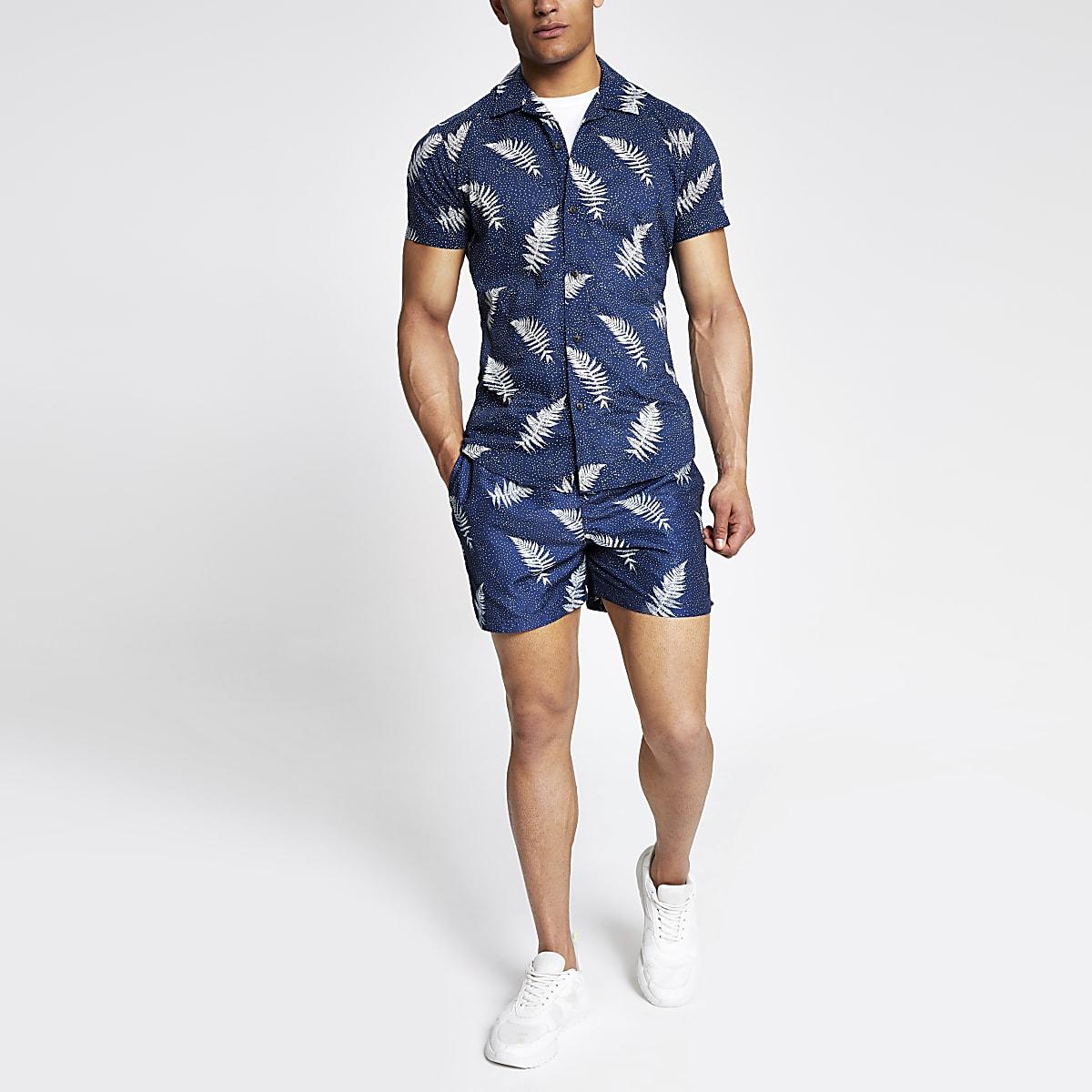 Selected Homme - Marineblauw overhemd met print en korte mouwen