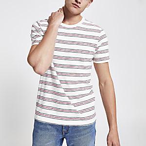 Selected Homme – Weißes, gestreiftes T-Shirt