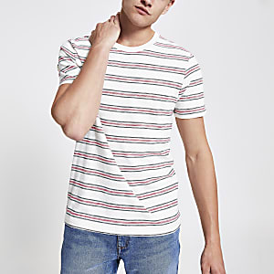 Selected Homme - Wit gestreept T-shirt