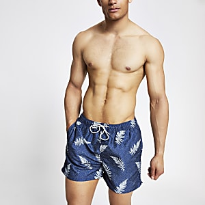 Selected Homme – Marineblaue, bedruckte Badeshorts