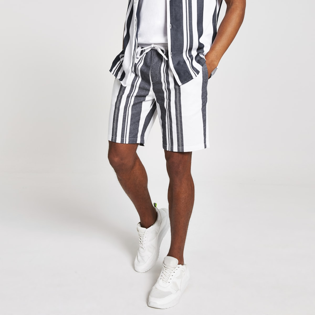 Selected Homme navy stripe shorts