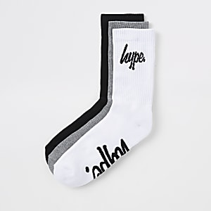Hype grey crest print socks multipack