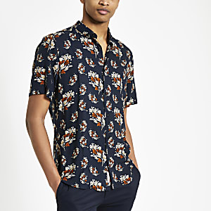 Navy twig print short sleeve shirt