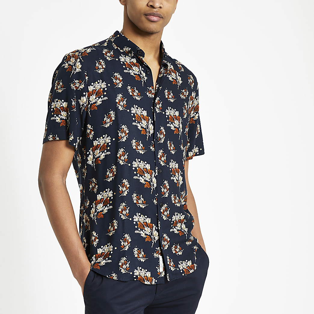 Navy twig print regular fit shirt