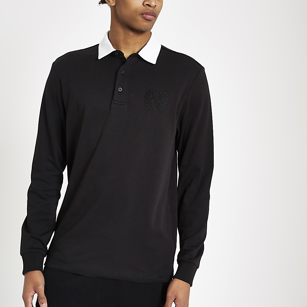 Black R96 long sleeve rugby shirt