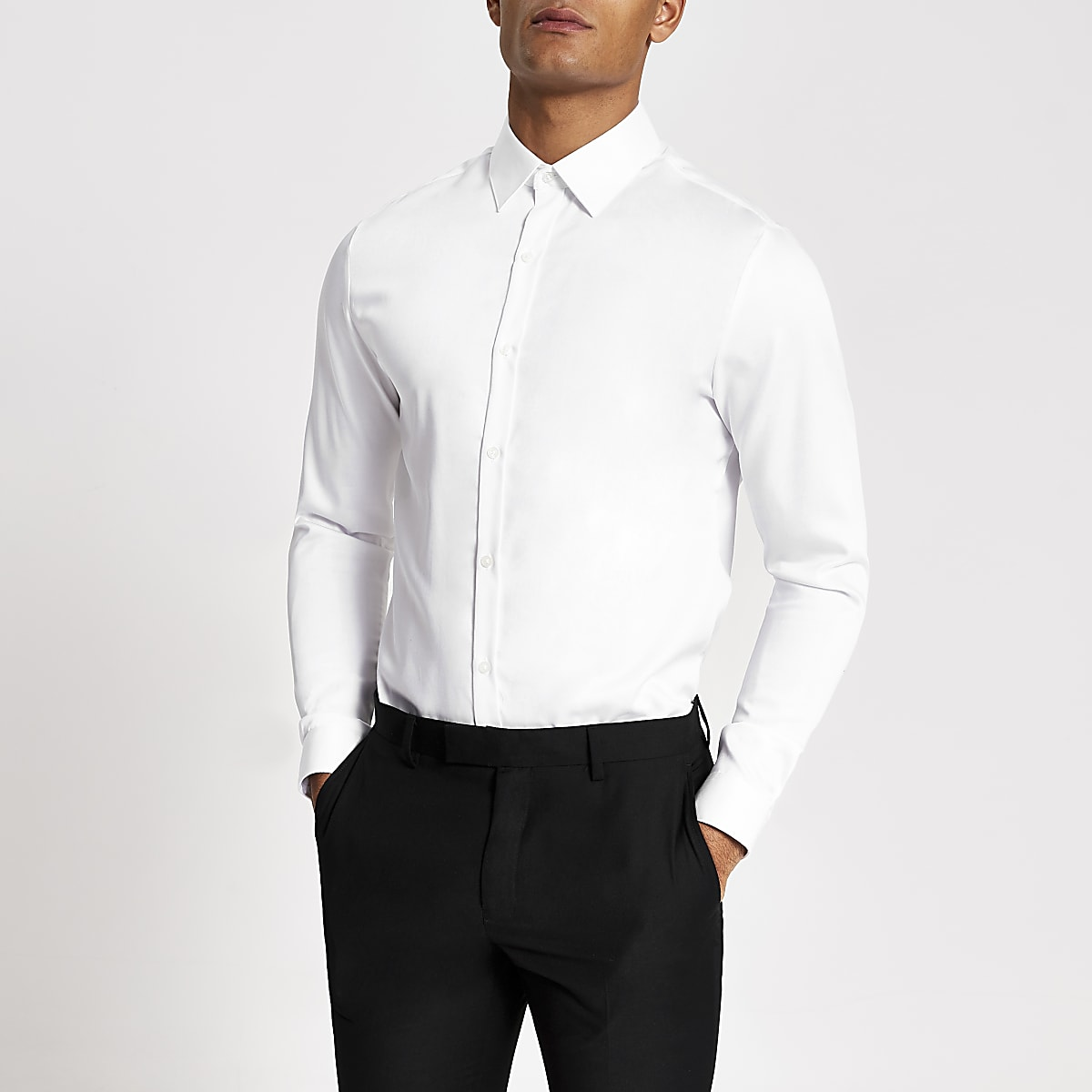 White premium cotton long sleeve shirt