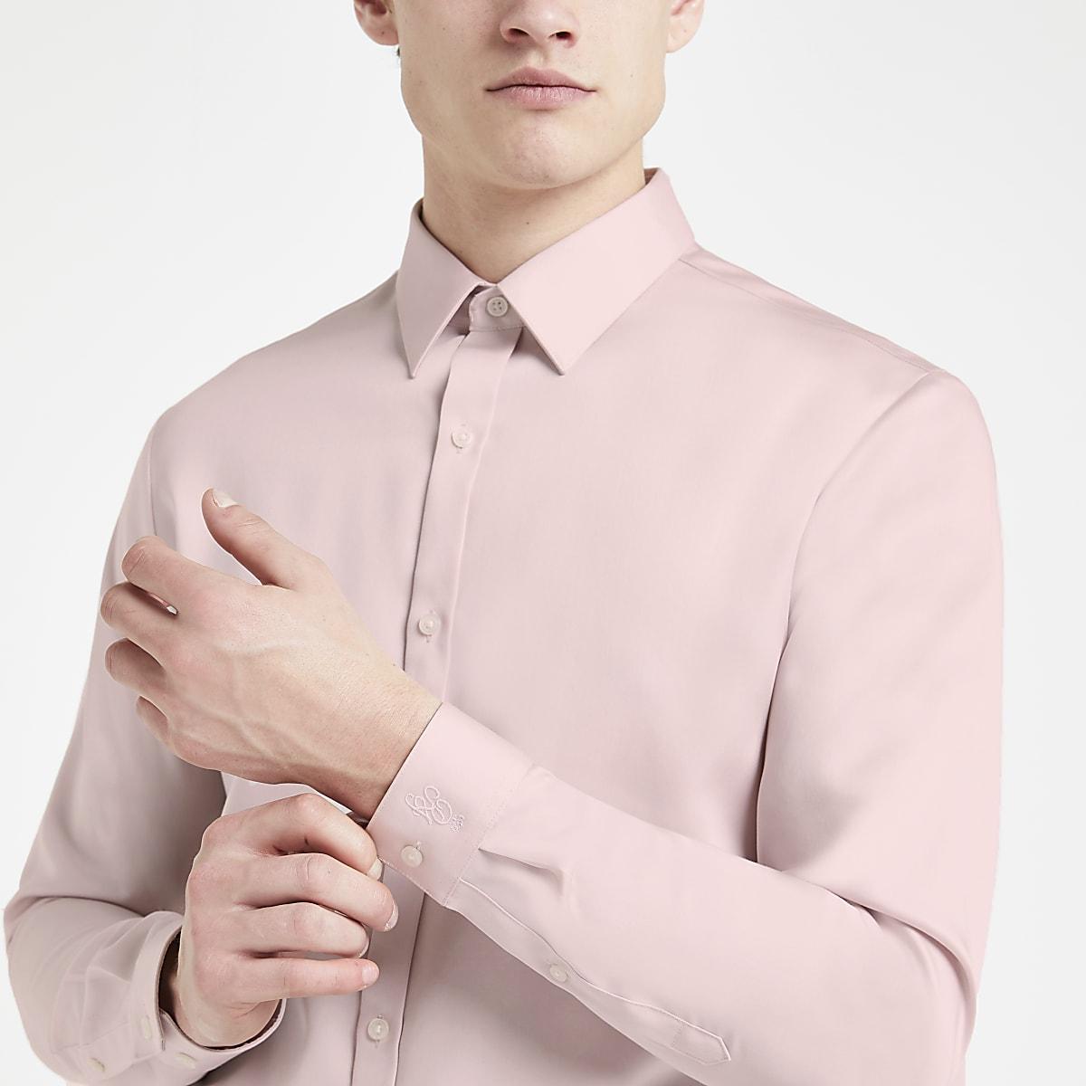 Chemise slim en coton de qualité rose
