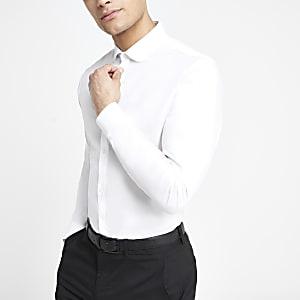 Wit premium katoenen slim-fit overhemd