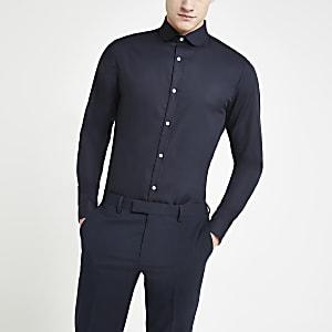 Marineblaues Slim Fit Hemd aus Premium-Baumwolle