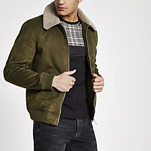 Khaki faux suede borg collar jacket