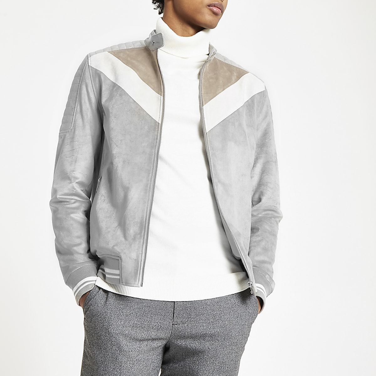 Grey suede chevron colour block racer jacket
