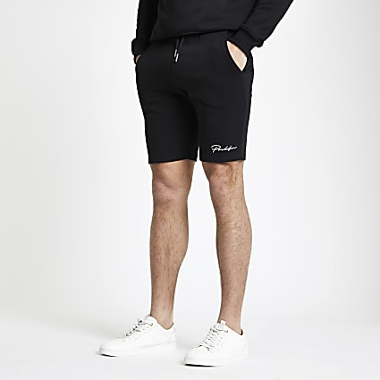 Prolific black muscle fit jersey shorts