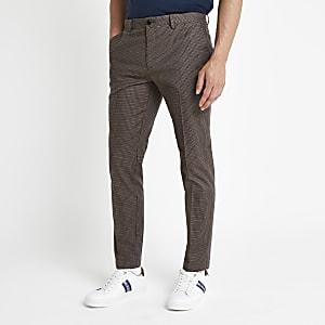 Bruine geruite skinny-fit broek