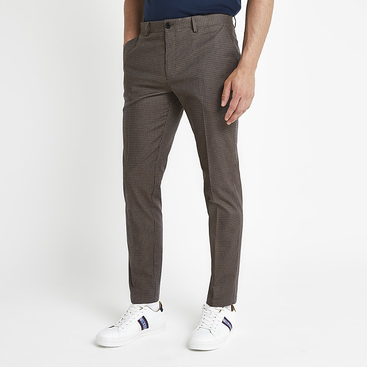 Brown check skinny fit trousers