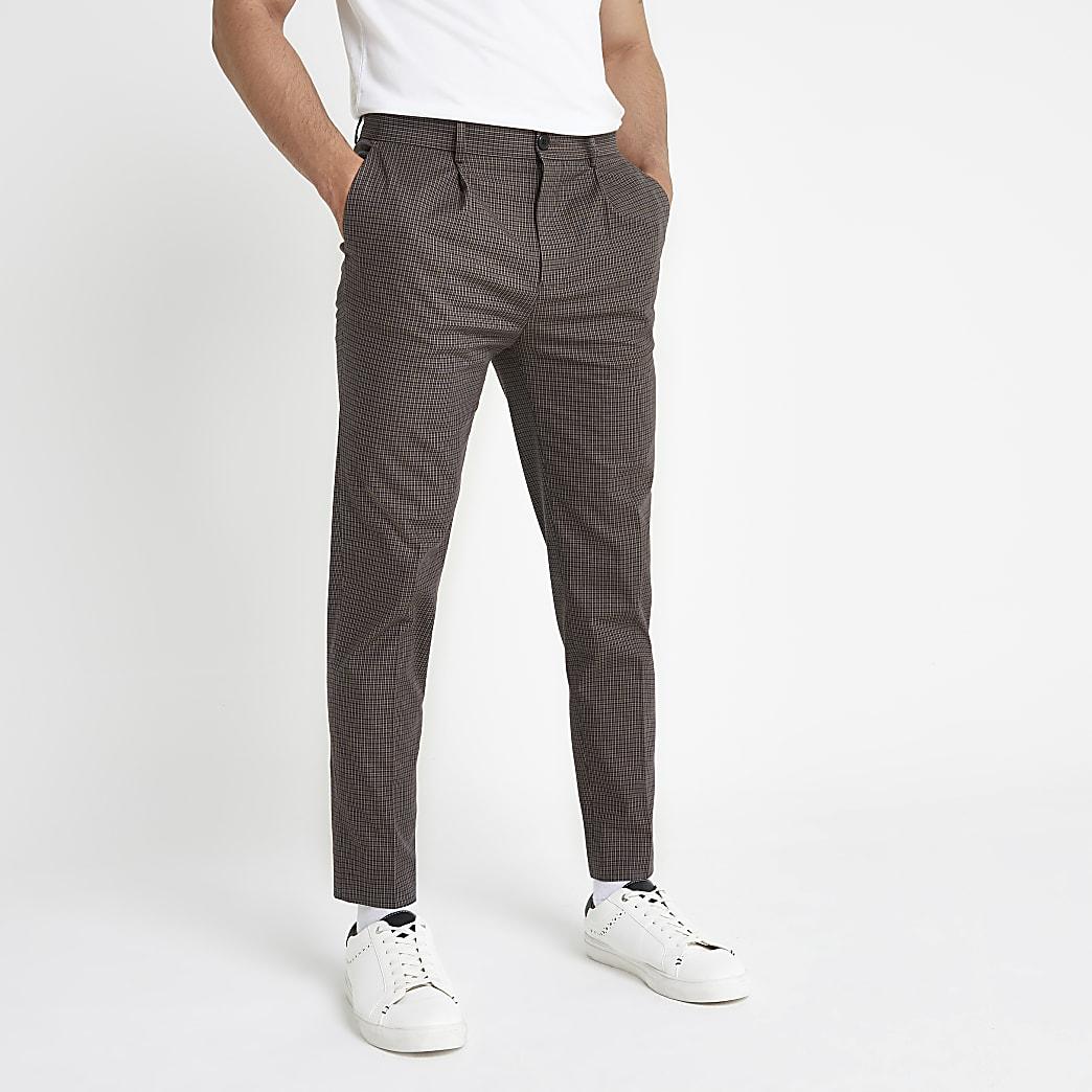 Pantalon fuselé à carreaux marron