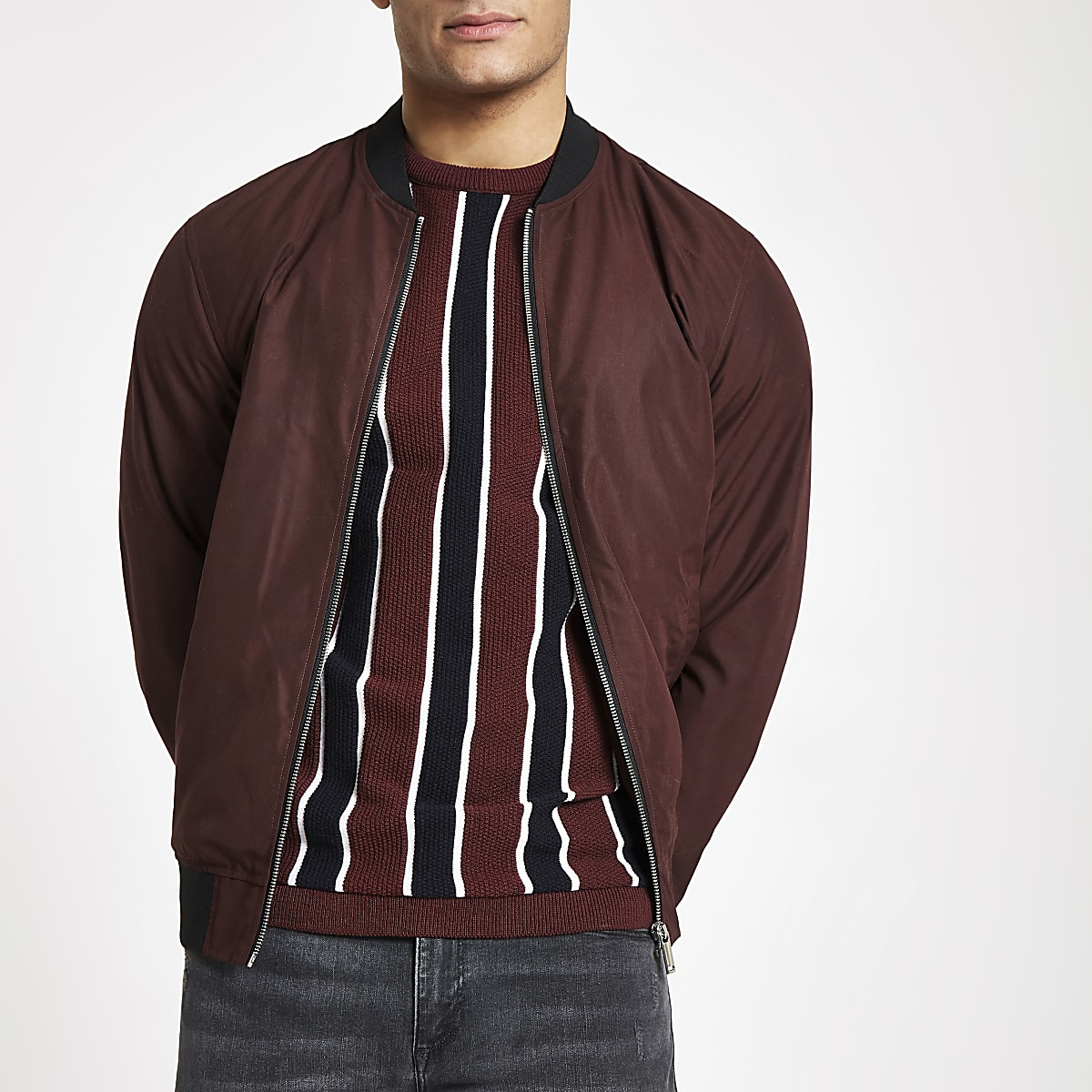 Dark red bomber jacket