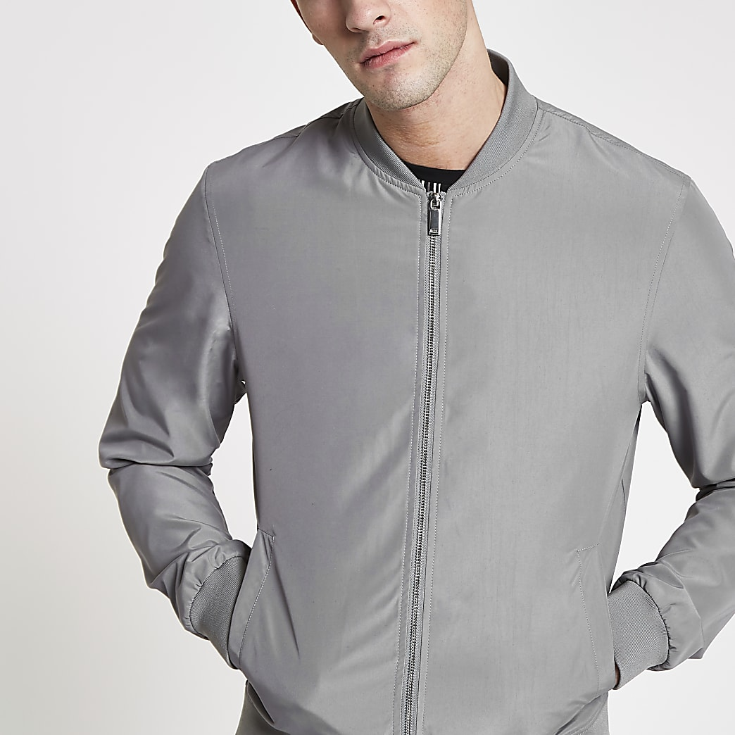 Grey long sleeve bomber jacket