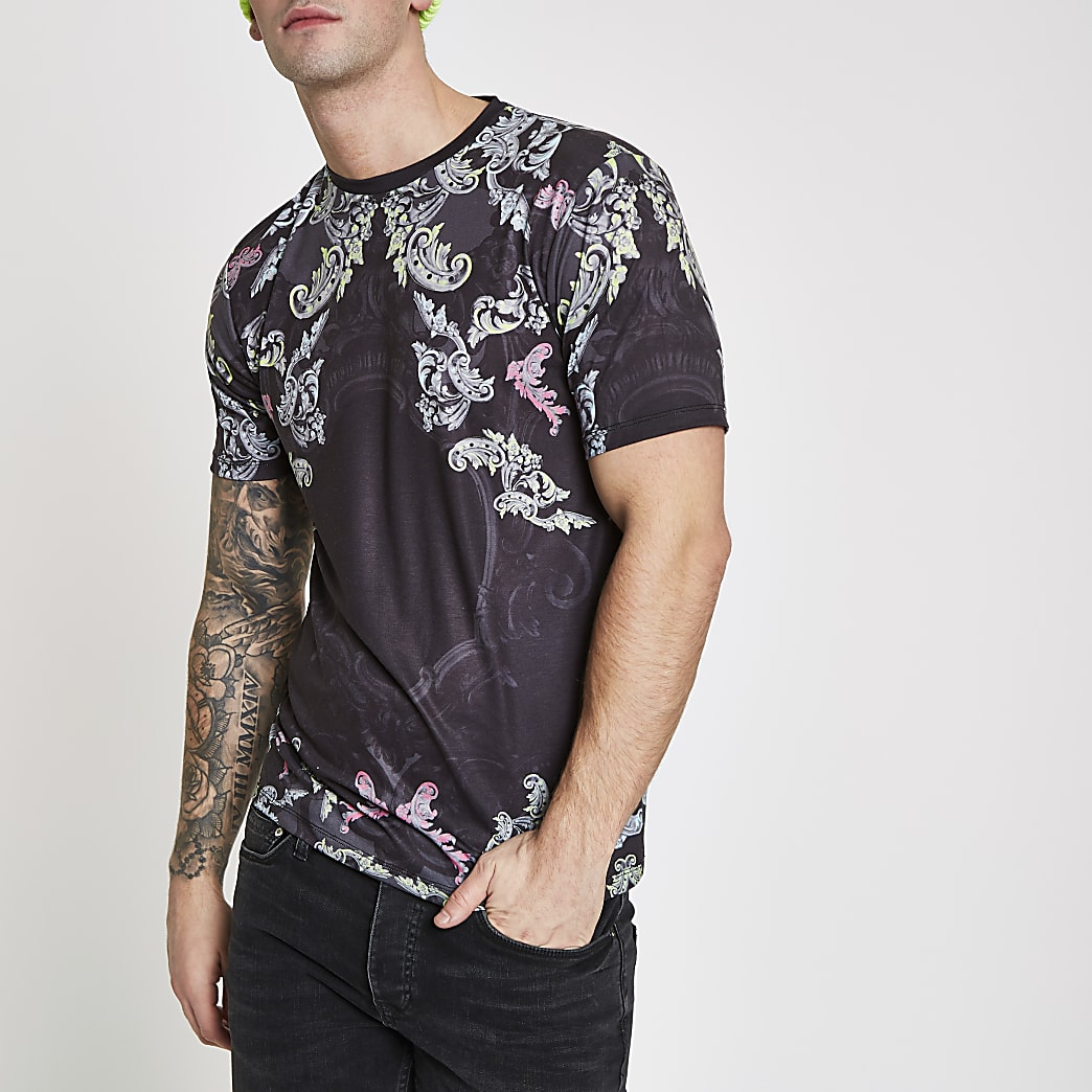 Black paisley print slim fit T-shirt