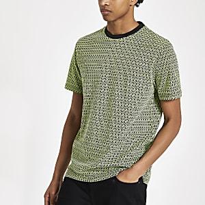 Neon green slim fit RI monogram T-shirt