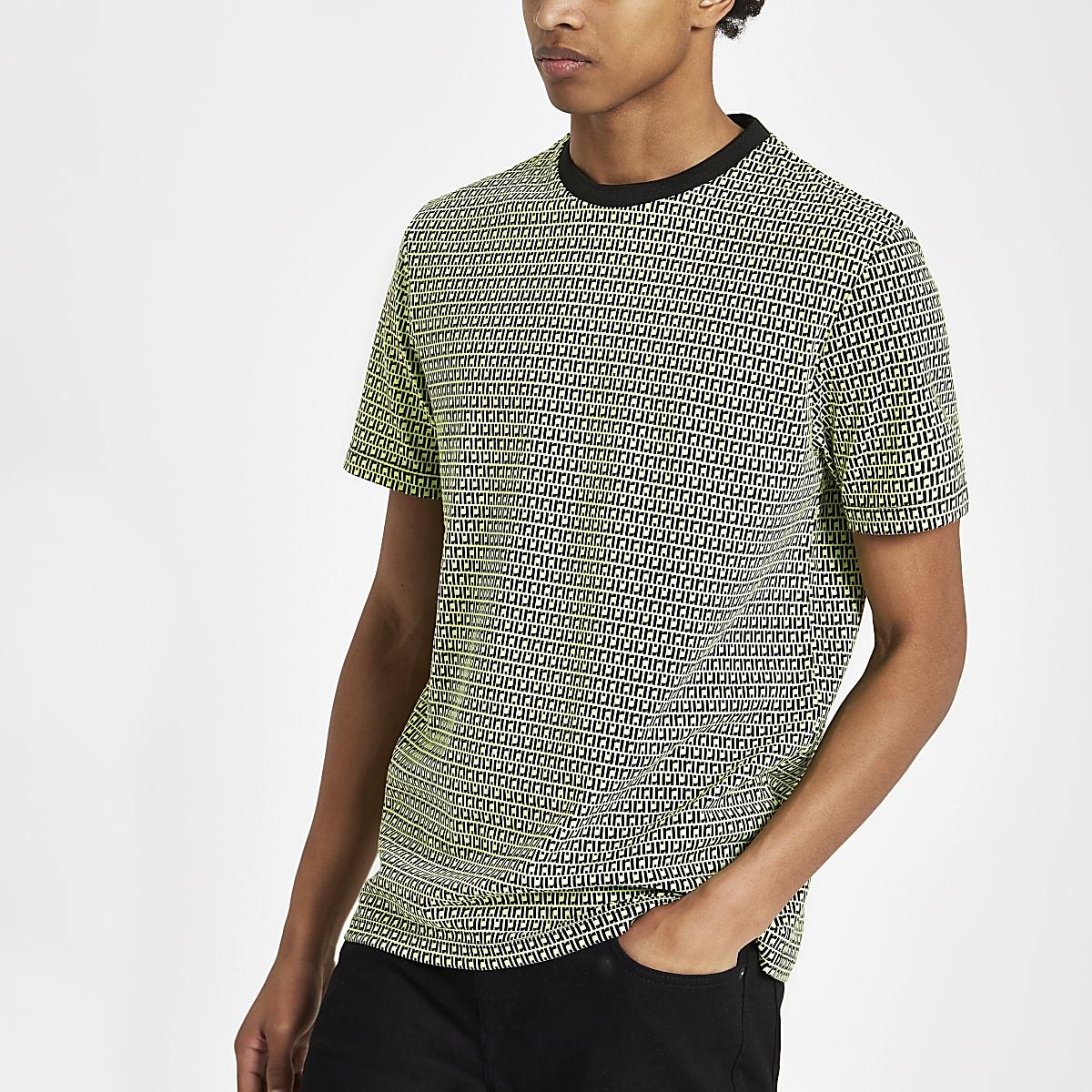 T-shirt slim à monogramme RI vert fluo