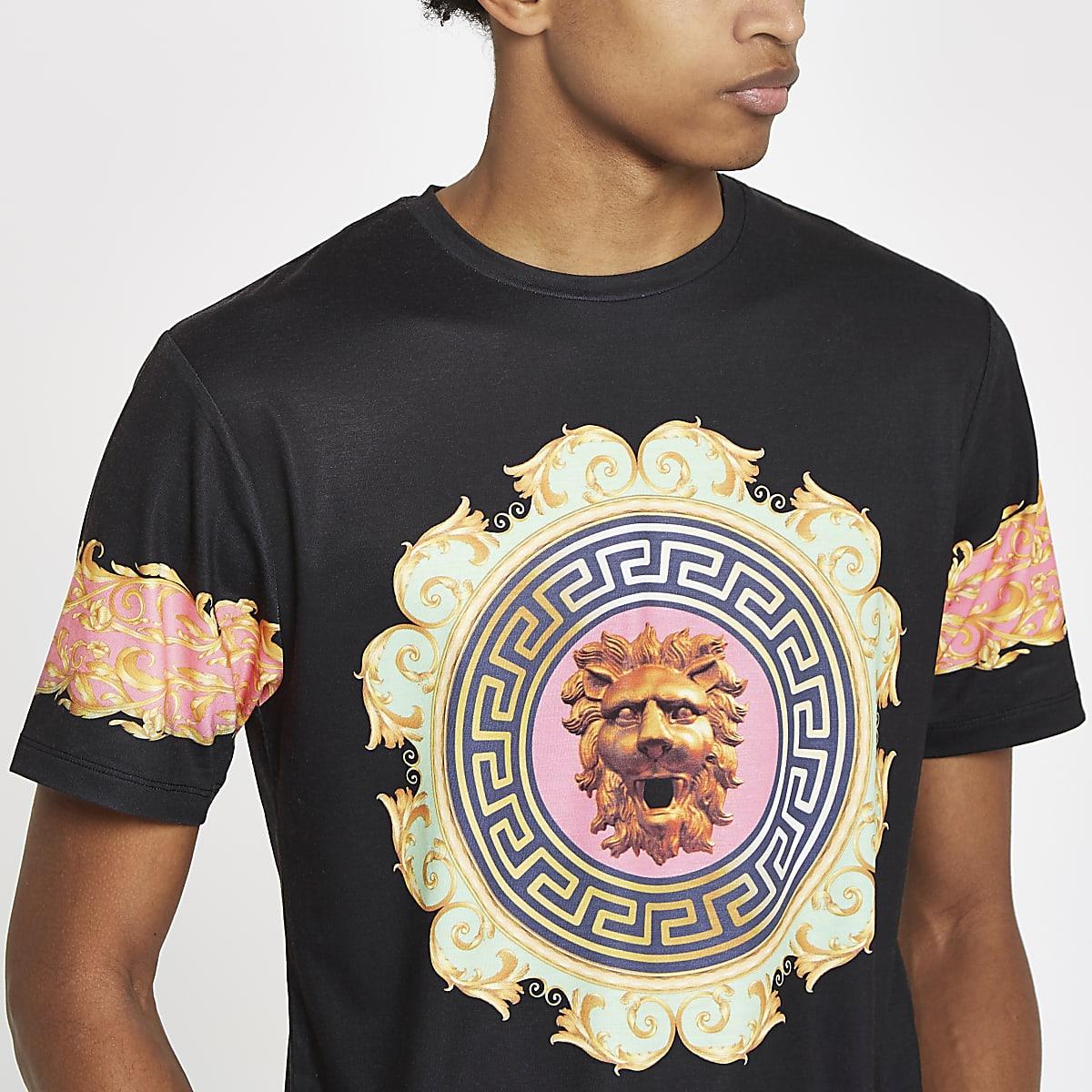 T-shirt slim motif lion baroque noir