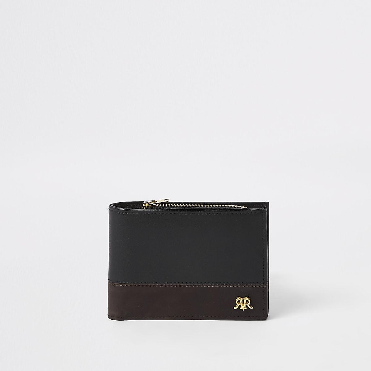 Black leather RI block wallet