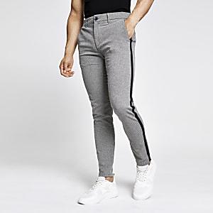 Pantalon skinny texturé gris