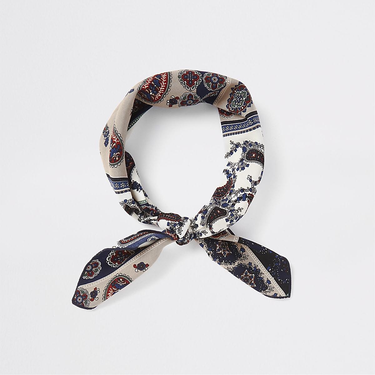 Marineblauwe en crème bandana