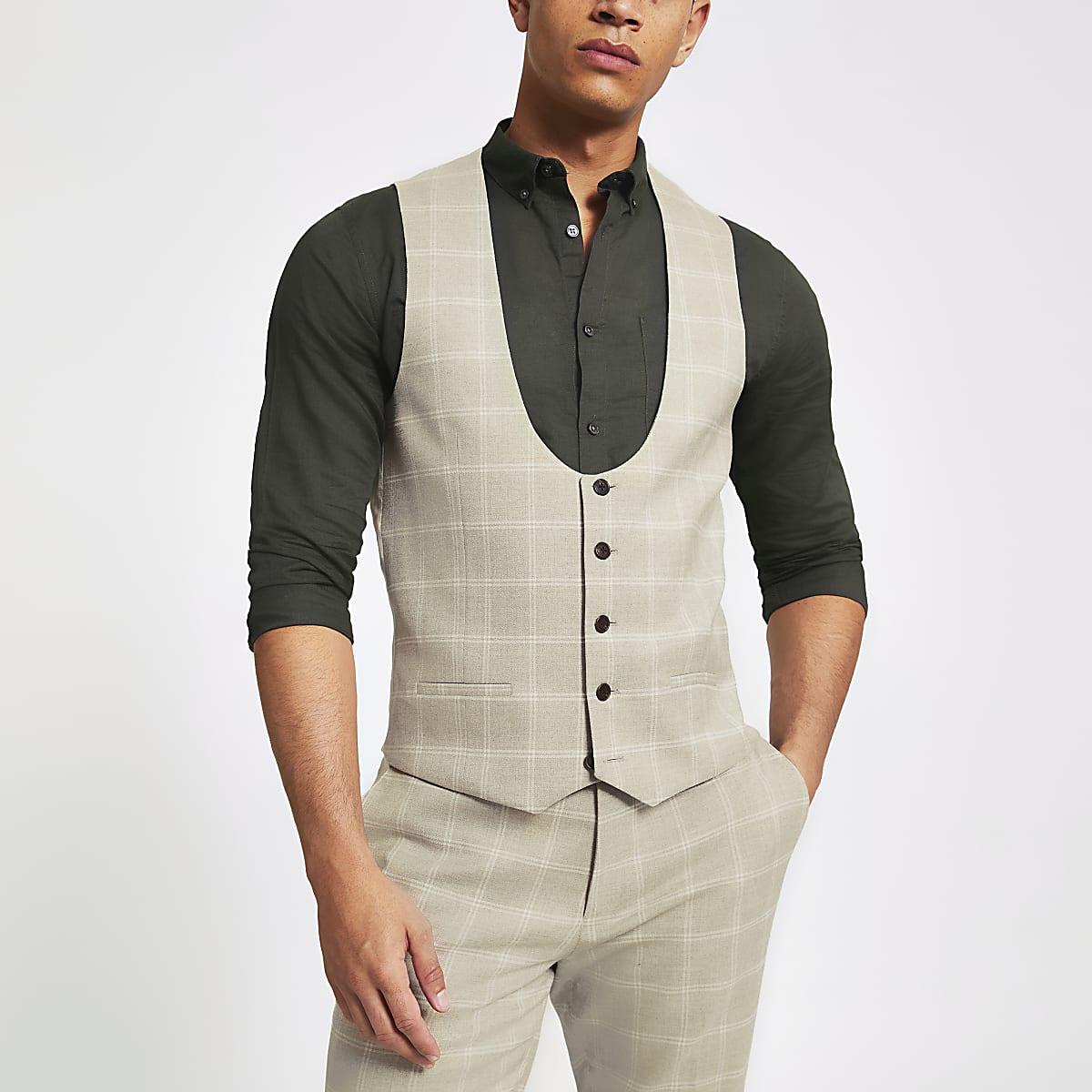 Stone check scoop neck vest