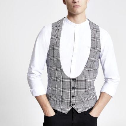 Grey check scoop neck slim fit waistcoat