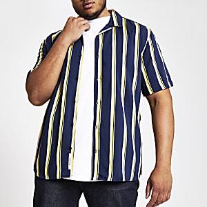 Only & Sons – Big & Tall – Schwarzes Hemd mit Streifen