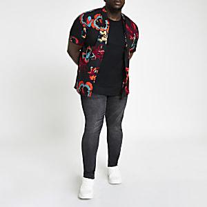 Lee - Big and Tall - Zwart overhemd met bloemenprint
