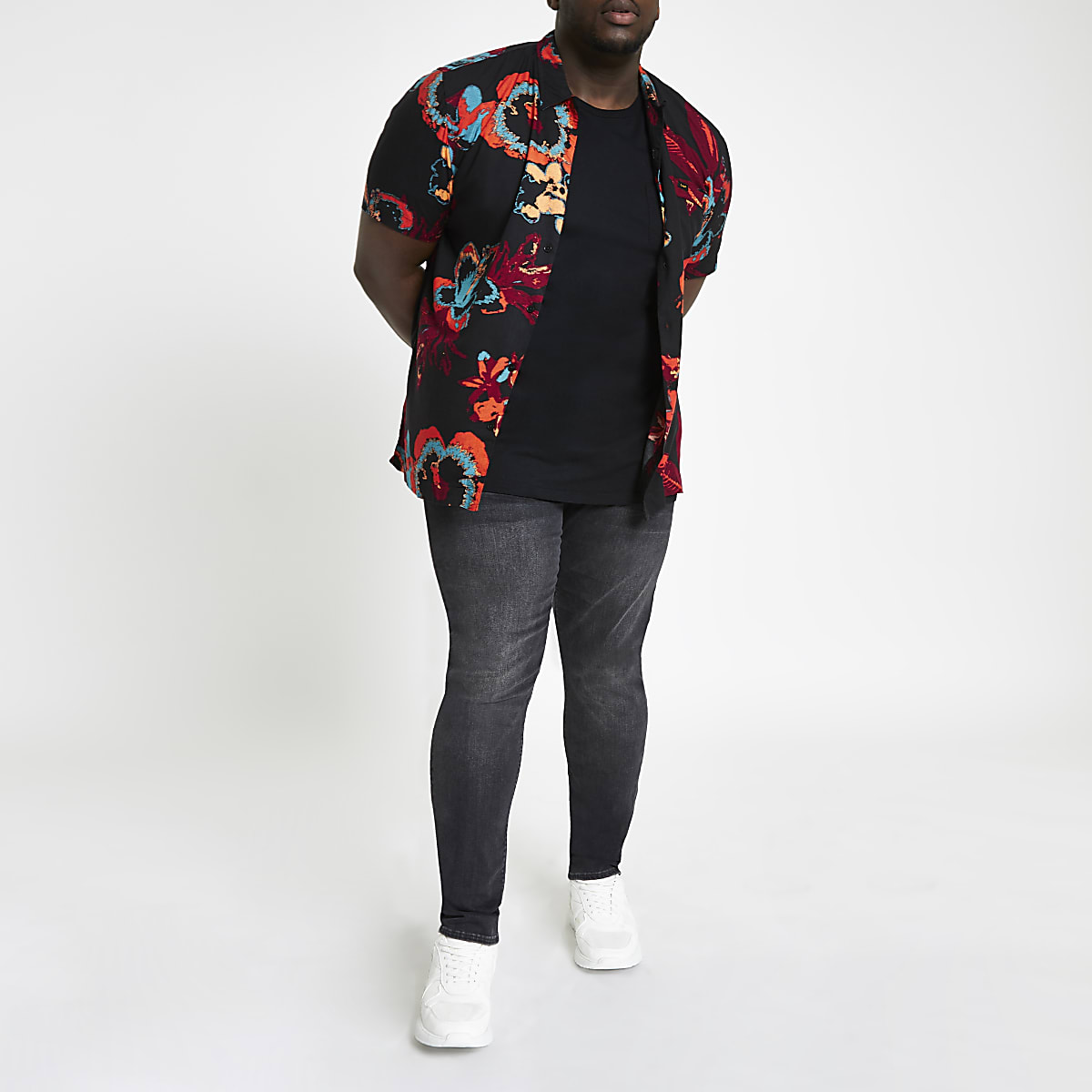 Lee – Big & Tall – Weißes, geblümtes Hemd