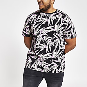 Only & Sons Big and Tall black print T-shirt