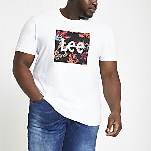Lee – Big and Tall – T-shirt blanc à logo
