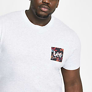 Lee – Big & Tall – Graues T-Shirt mit Print