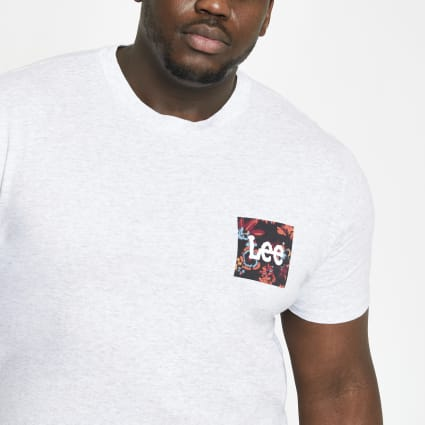 Lee Big and Tall grey chest print T-shirt