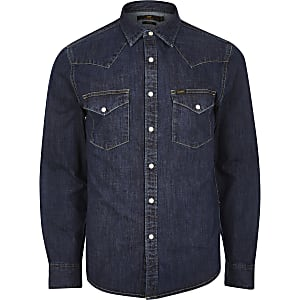 Lee Big and Tall dark blue western shirt