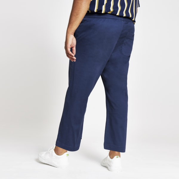 River Island - & sons – big & tall – marineblaue, weite hose - 3