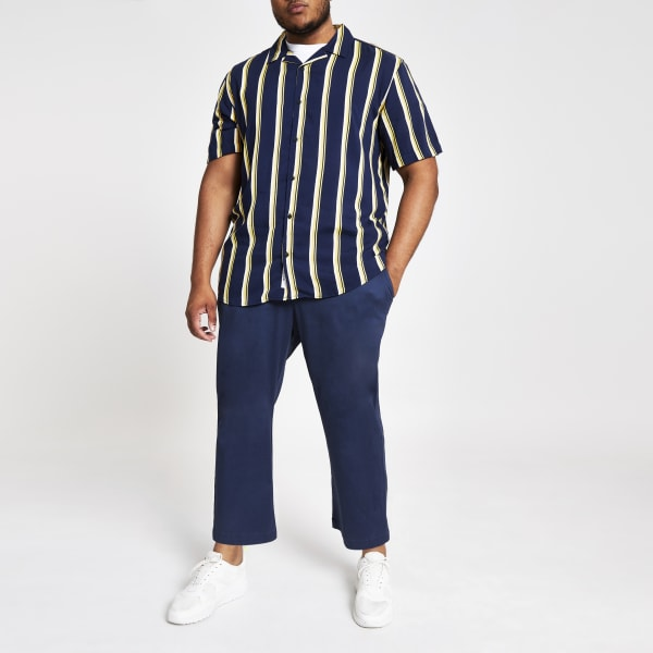 River Island - & sons – big & tall – marineblaue, weite hose - 1