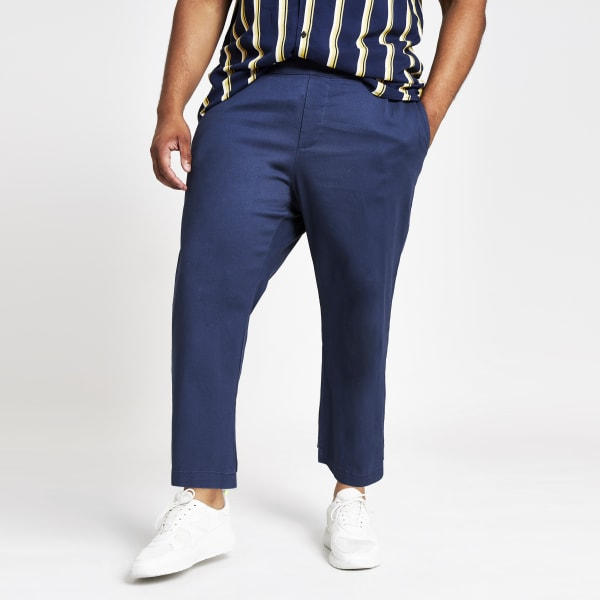 River Island - & sons – big & tall – marineblaue, weite hose - 2