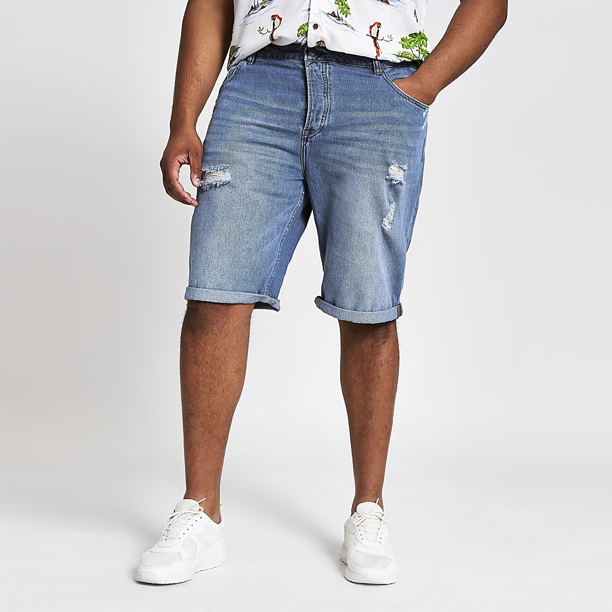 Only & Sons Big and Tall blue denim shorts