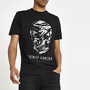 Zwart slim-fit T-shirt met diamantjes en doodshoofdprint
