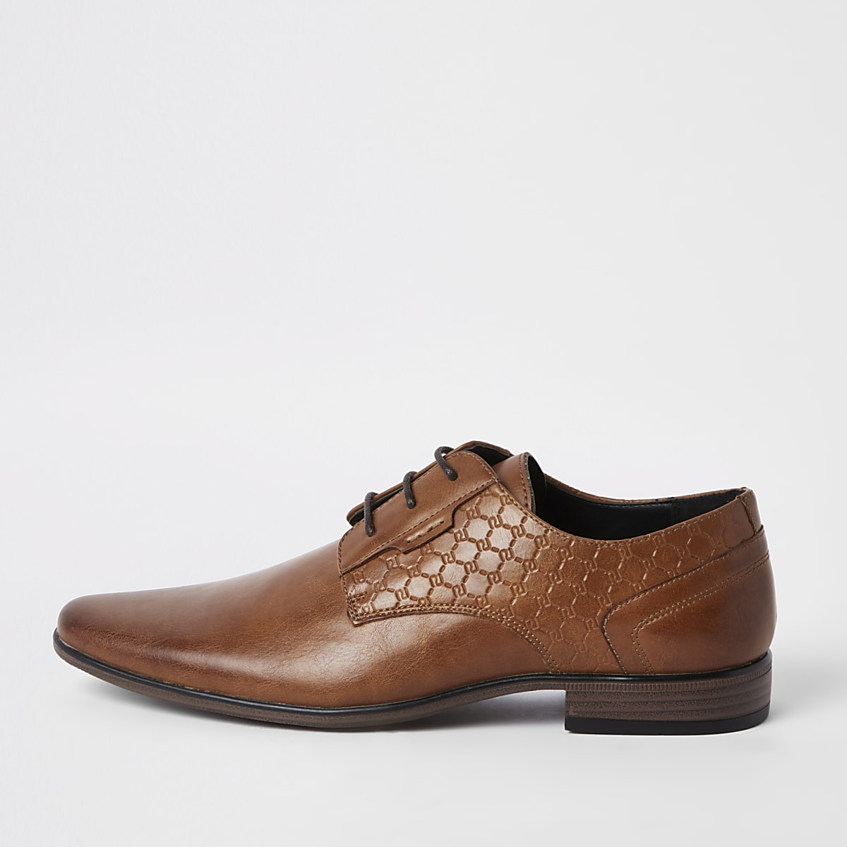 Brown 'RI' embossed derby shoes