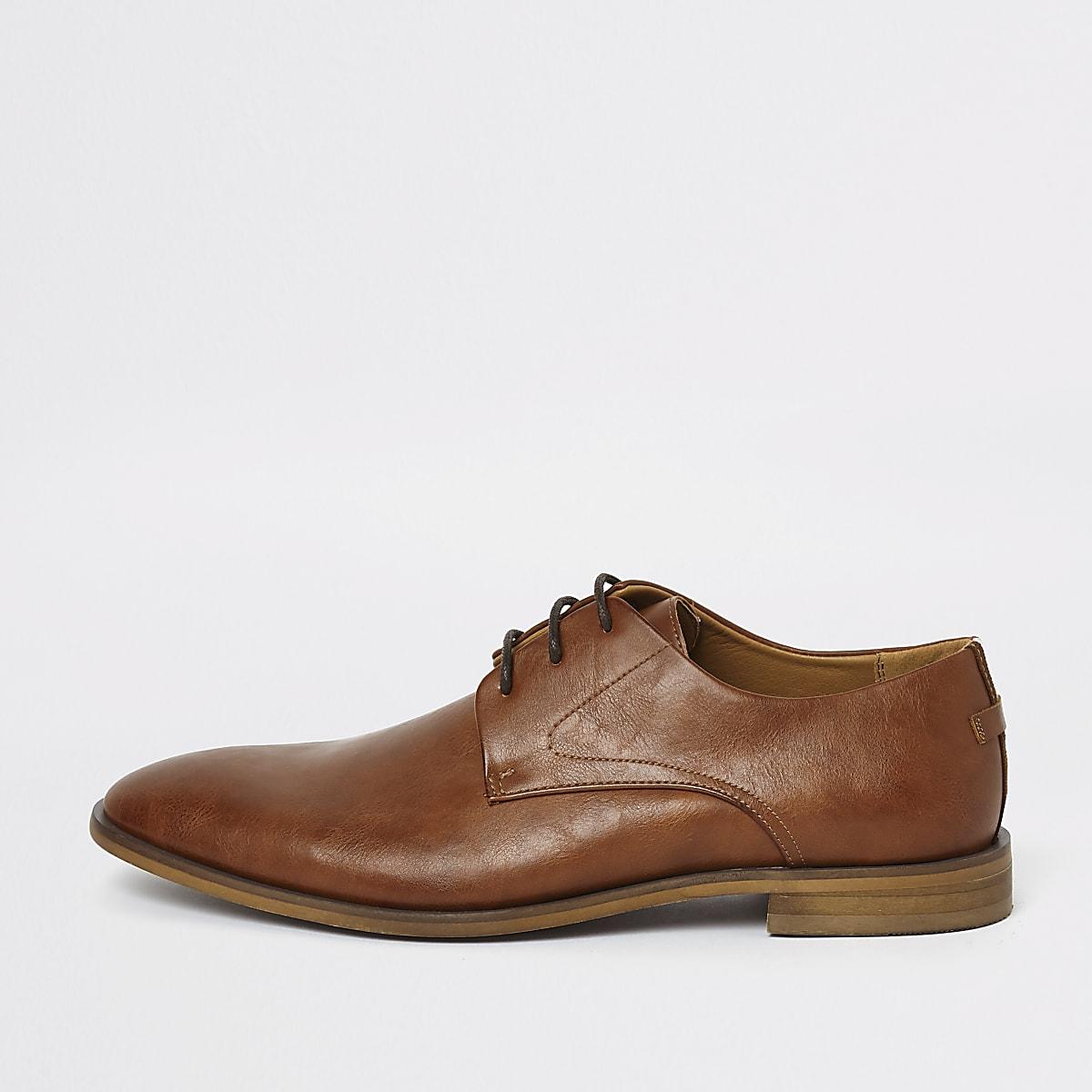 Chaussures Derby marron à bandes et lacets