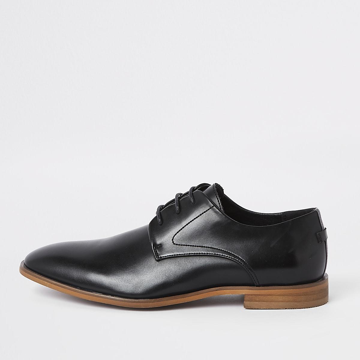 Black lace-up tape derby shoes