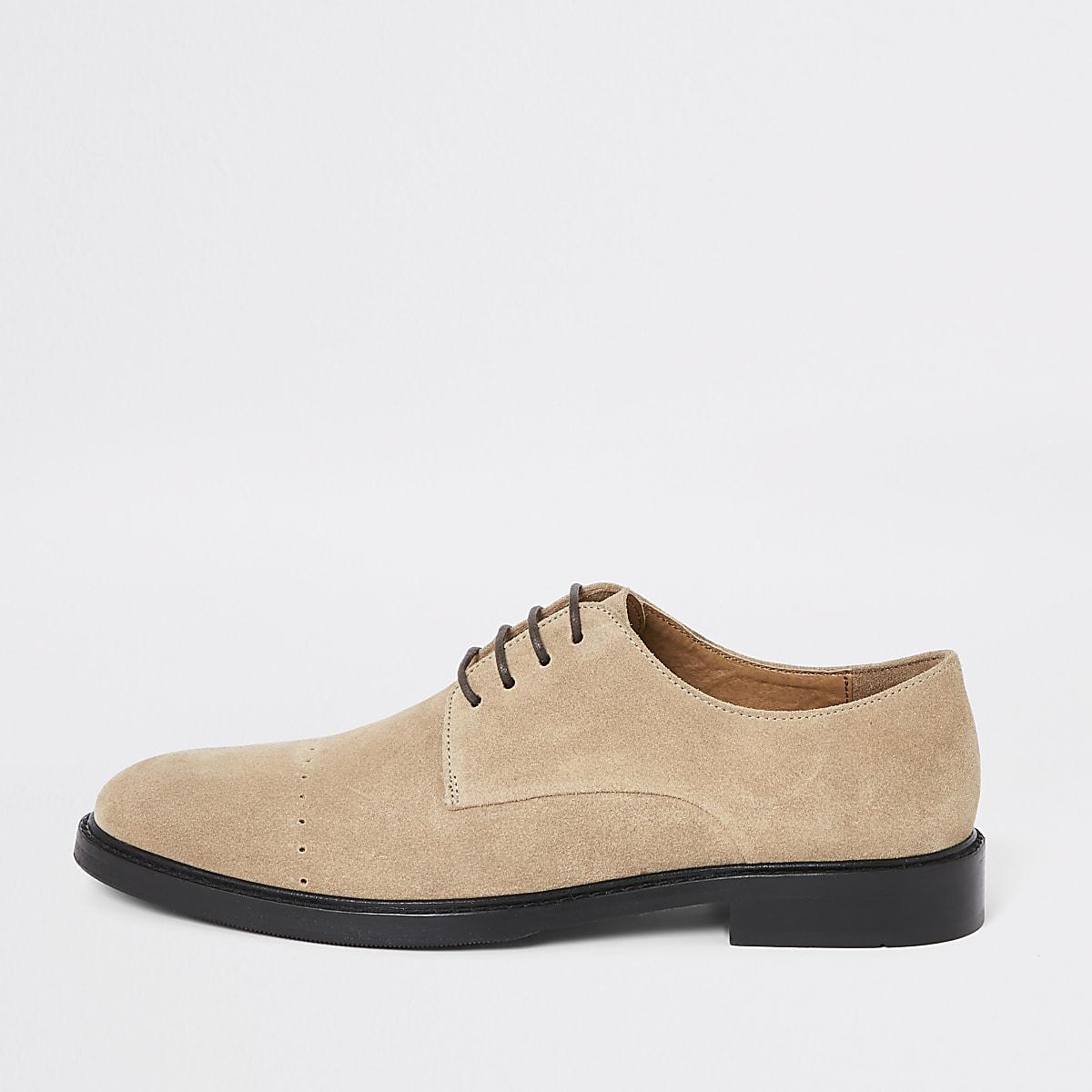 Chaussures derby lacée en daim grège