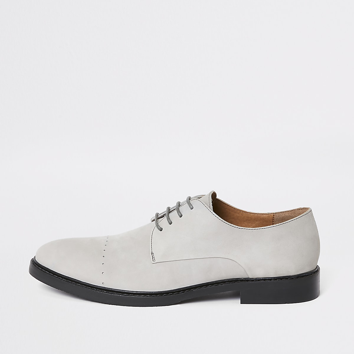 Grey leather derby shoes