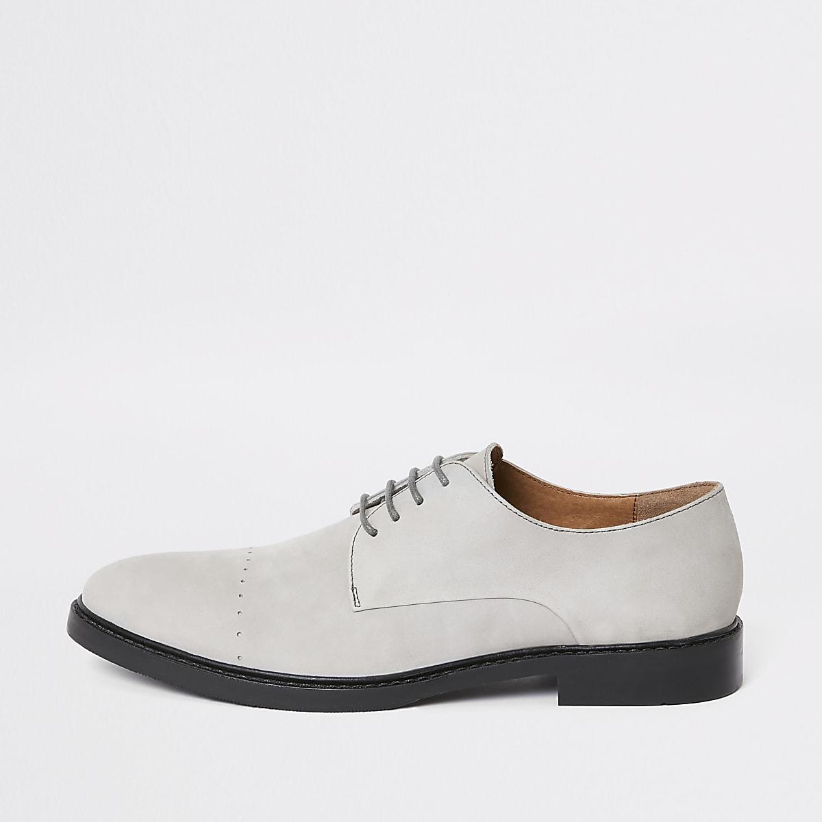 Grijze leren derby schoenen