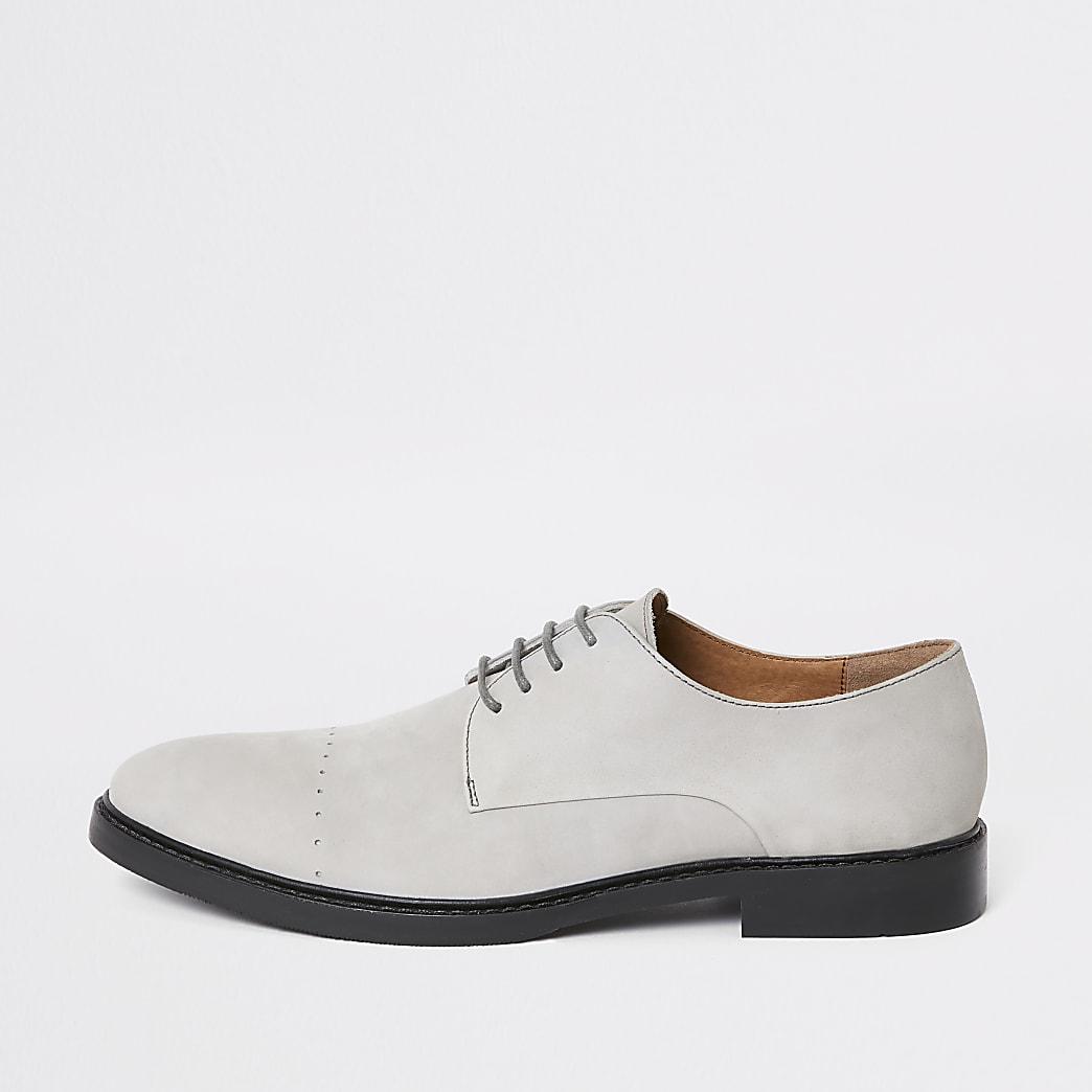 Chaussures derby en cuir grises
